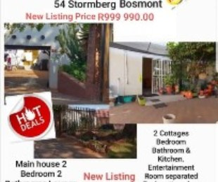 R 999,990 - 2 Bed Home For Sale in Bosmont