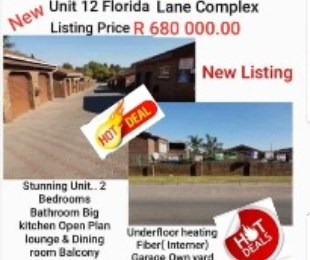 R 680,000 - 2 Bed Property For Sale in Florida