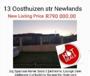 R 780,000 - 3 Bed Home For Sale in Newlands